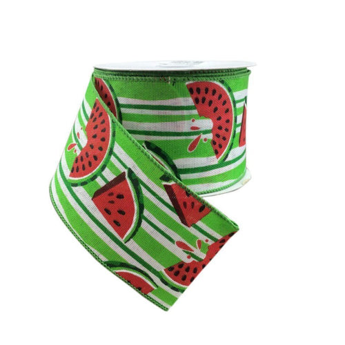 White / Lime Stripe Linen Wired Ribbon With Watermelons