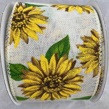 White Linen with Sunflowers 2.5 Inch x 10 Yard Ribbon