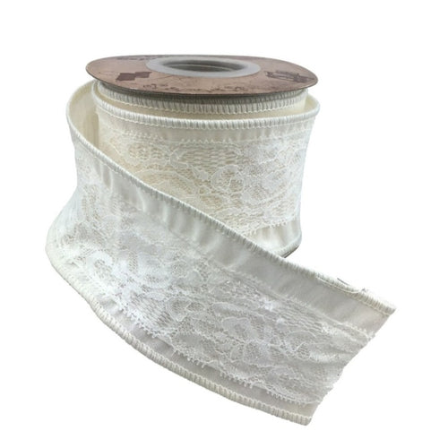 White Lace Dupion 2.5 Inch x 10 Yard Ribbon