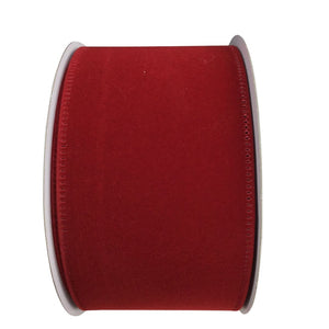 2.5 Inch Dark Red Velvet Wired Ribbon