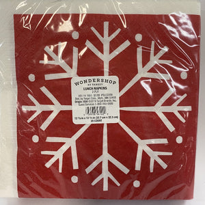 20 Count Red Snowflake Paper Lunch Napkins- Wondershop