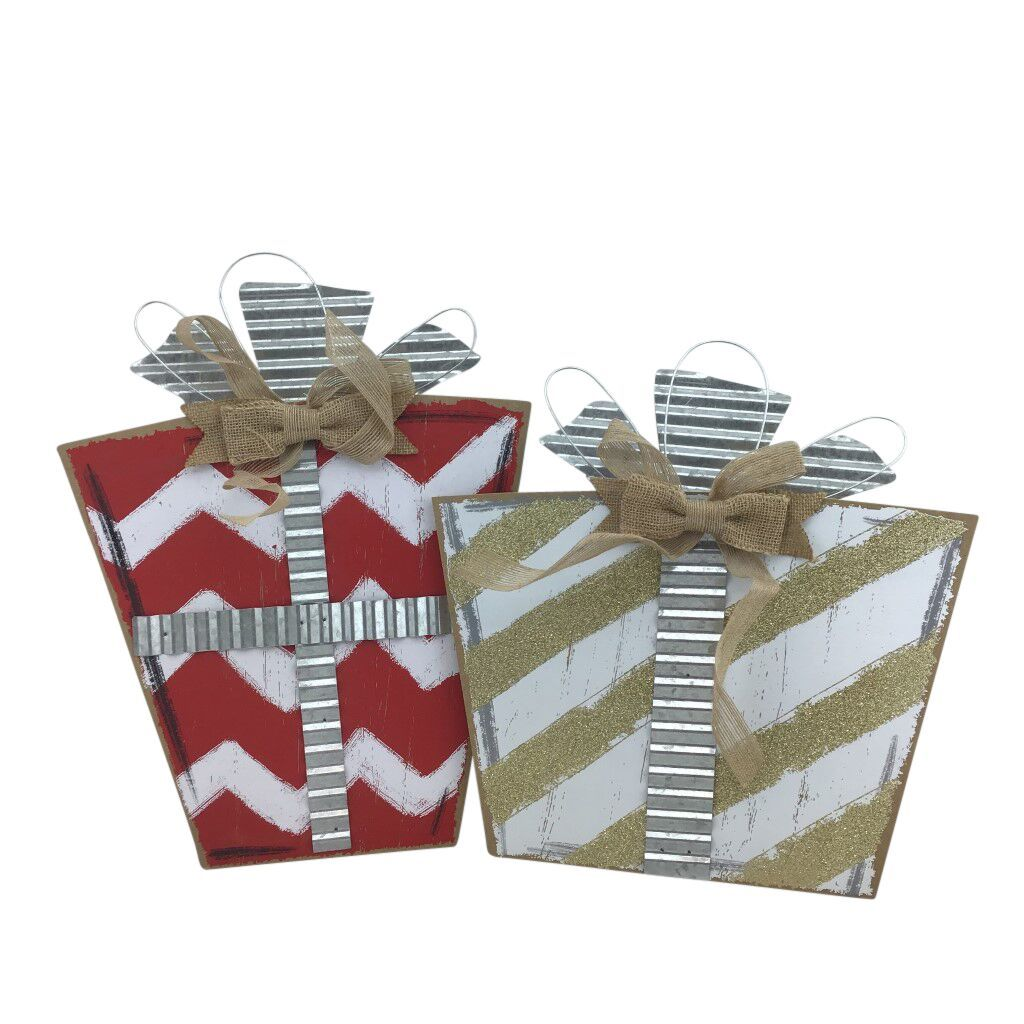 Wood And Metal Gift Box 2 Assorted