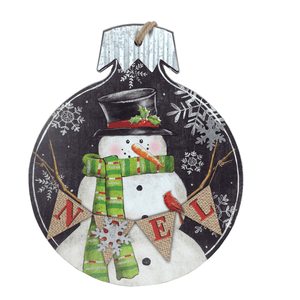 Wood And Metal Snowman Hanging Sign