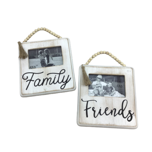 Wood W/ Bead Hanger Photo Frame 4x6 2 Assorted