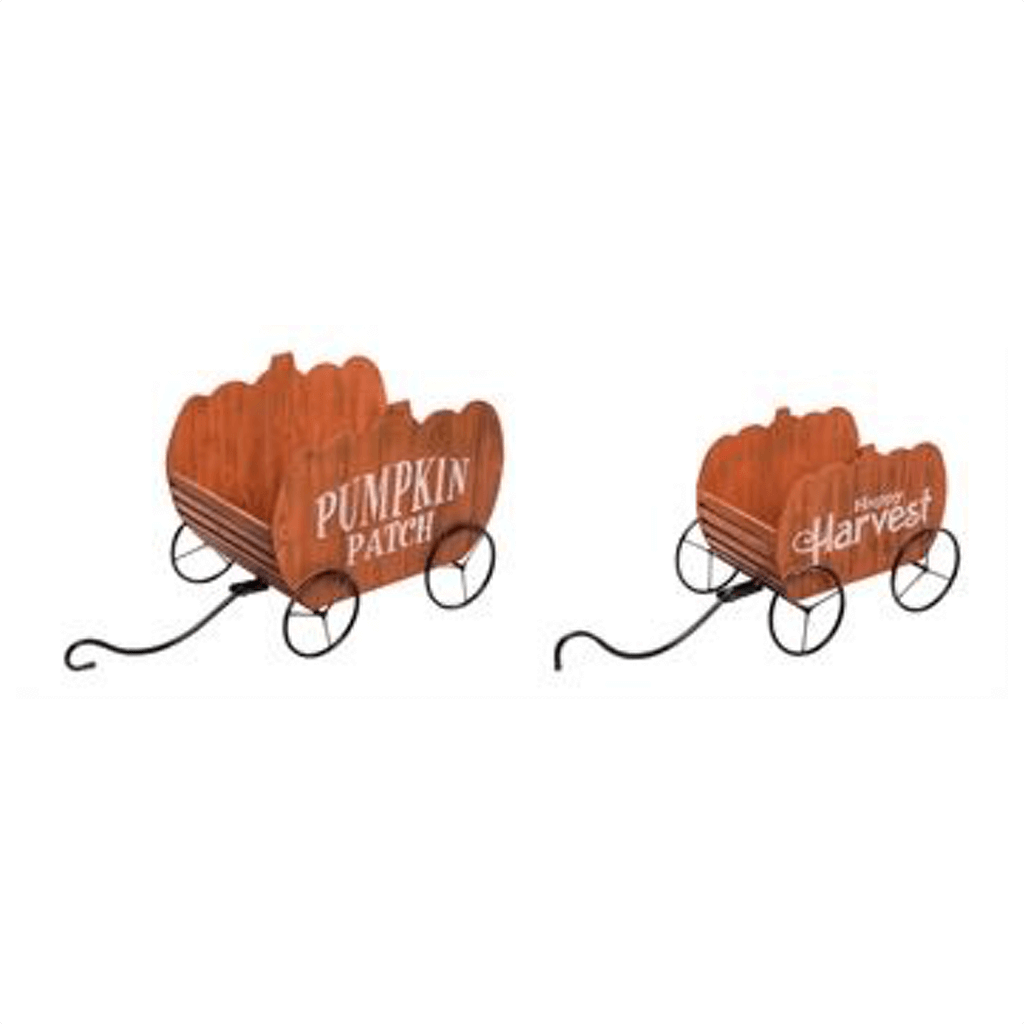 Wood/Metal Pumpkin Trolley - Set of 2