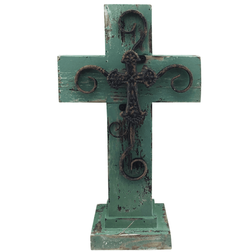 Standing Wood Blue Cross With Metal Cross