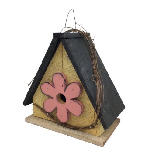 Yellow Bird House With Flower 12 Inch