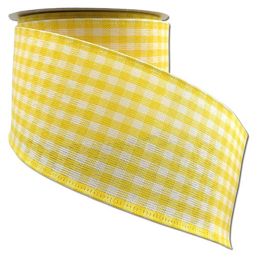 Yellow And White Gingham Check 2.5 Inch x 10 Yard Ribbon