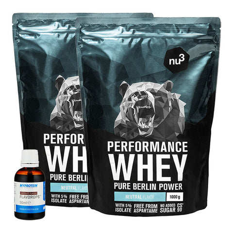 nu3 Performance Whey, Neutral + MyProtein FlavDrops, Schoko