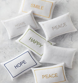 Word Embroidered Decorative Pillow
