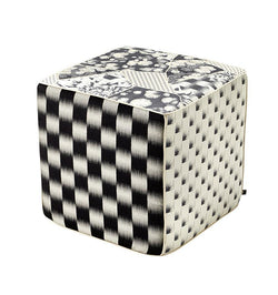 K3 for SFERRA Black & White Patchwork Hanatsugi Pouf