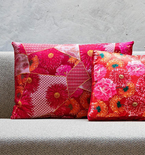 K3 for SFERRA Red & Pink Floral Patchwork Decorative Pillows