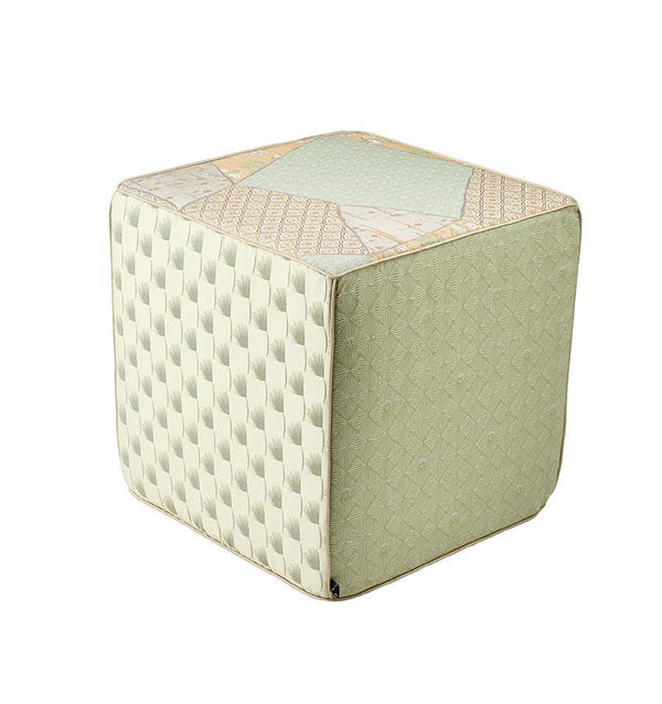 K3 for SFERRA Green & Ivory Patchwork Hanatsugi Pouf