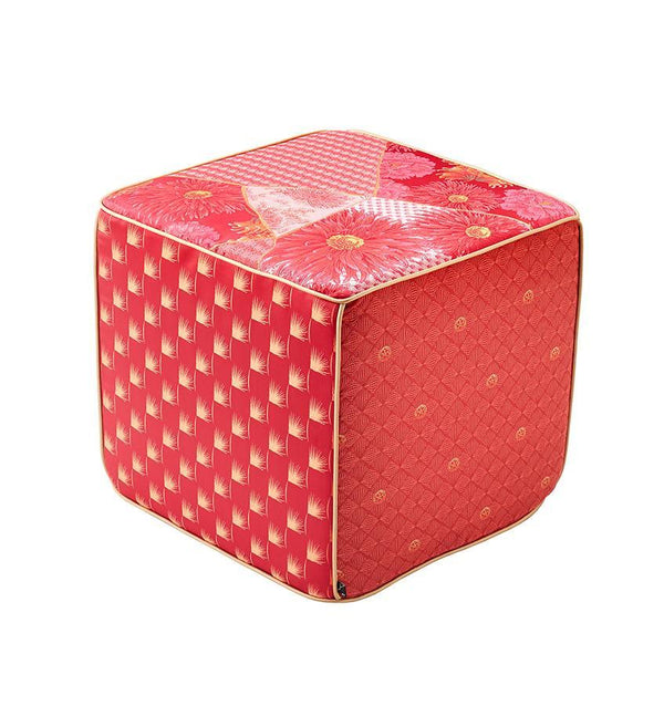 K3 for SFERRA Red & Pink Patchwork Hanatsugi Pouf