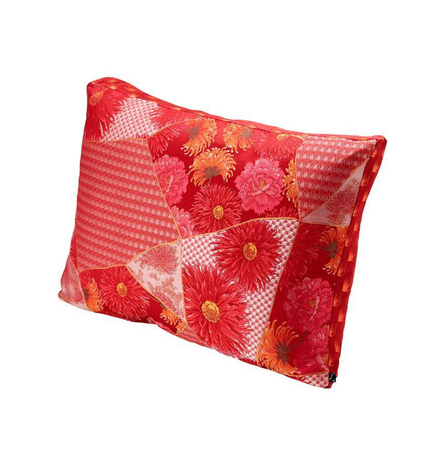 K3 for SFERRA Red & Pink Floral Patchwork Decorative Pillow