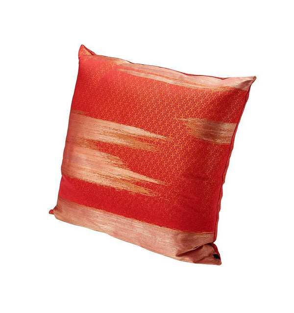 K3 for SFERRA Red Decorative Pillow with Gold Brushstroke Pattern