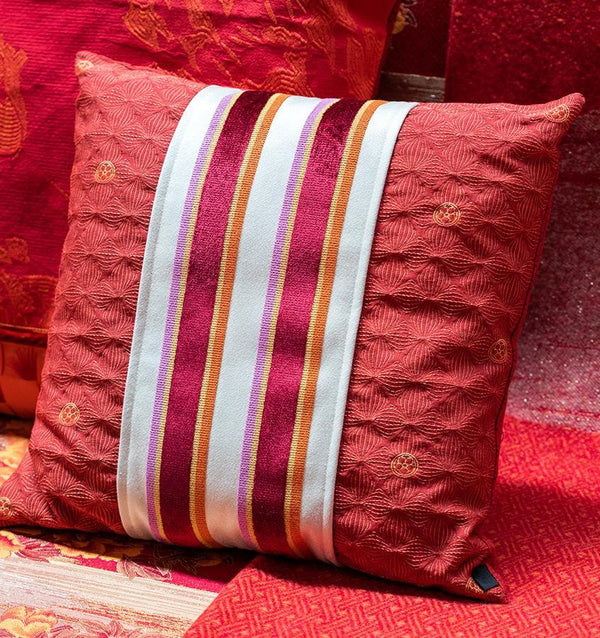 K3 for SFERRA Red Textured Kishima Decorative Pillow