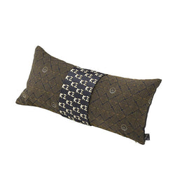 "Woven with a tonal jacquard in a graphic floral pattern, the Kogo Cushion is enveloped with a sateen band embroidered with small ""K三"" logos in gold."