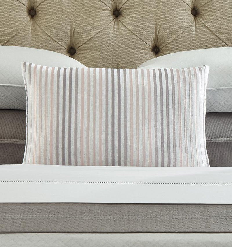 Lineare  decorative  pillow  is  accented  with  embroidered  ombré  stripes  on  a  crisp  linen  base  fabric.
