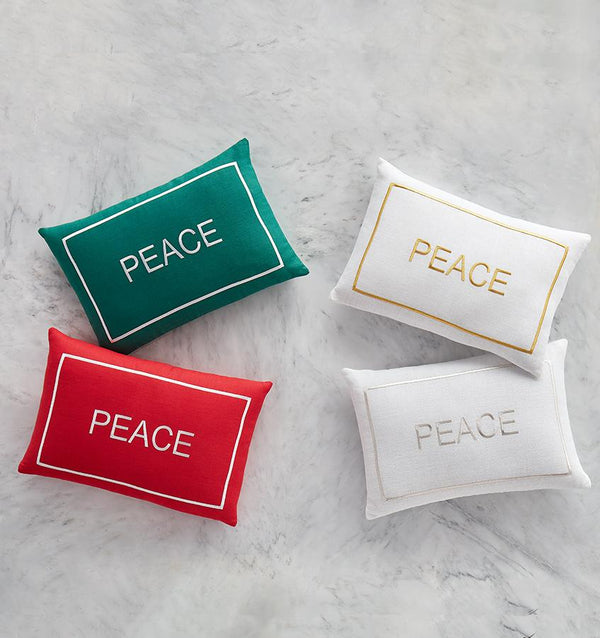 SFERRA Peace Decorative Pillows feature uplifting words or phrases in colored satin stitch embroidery on pure linen
