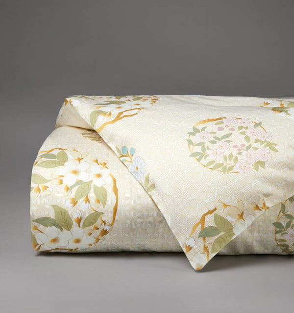 Hana Maru echoes the harmony of nature with floral garlands in a soft palette of yellows, greens, pinks and blues.