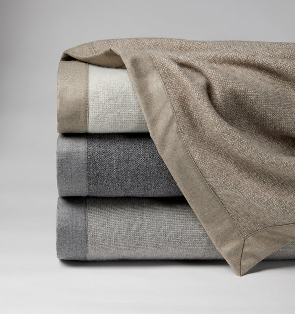The SFERRA Nerino Blanket, a menswear-inspired Superfine Merino wool blanket.