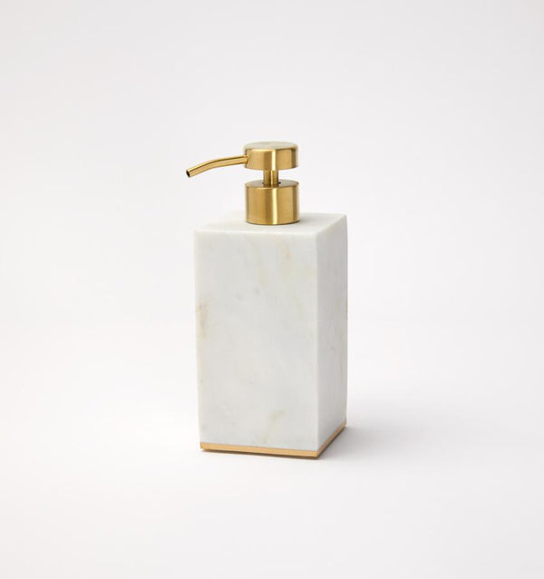 A gold-trimmed marble SFERRA soap dispenser against a white background.