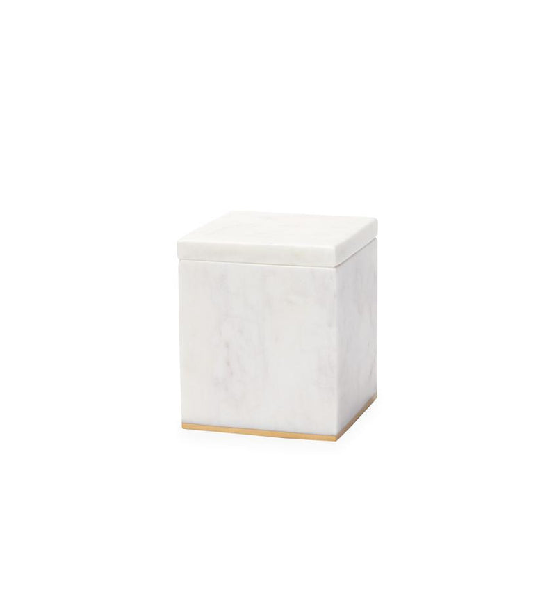 A gold-trimmed marble SFERRA storage jar against a white background.
