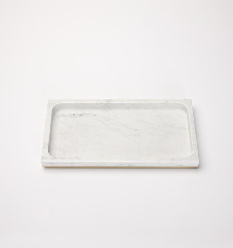 Rectangular gold-trimmed marble storage tray against a white background.