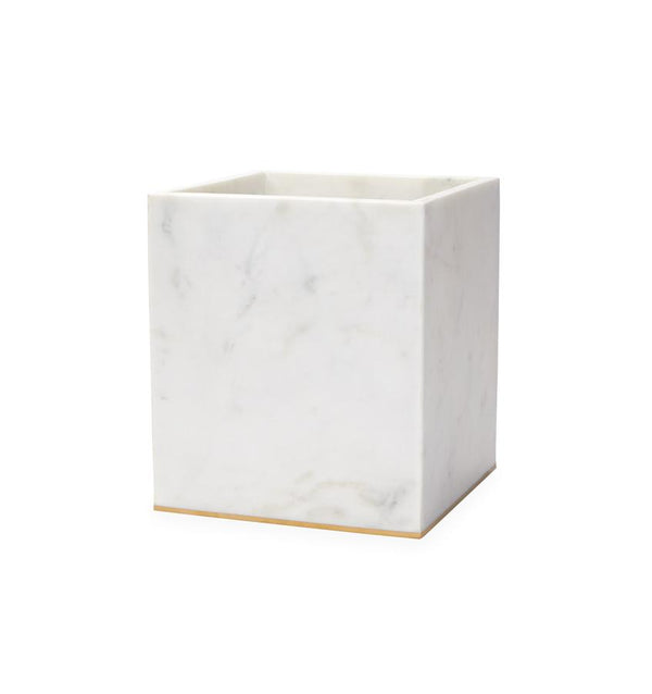 Gold-trimmed marble waste basket against a white background.