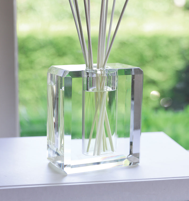 Antica Farmacista's Crystal Diffuser sold by SFERRA. The lines of this lead crystal reflect and scatter light beautifully.