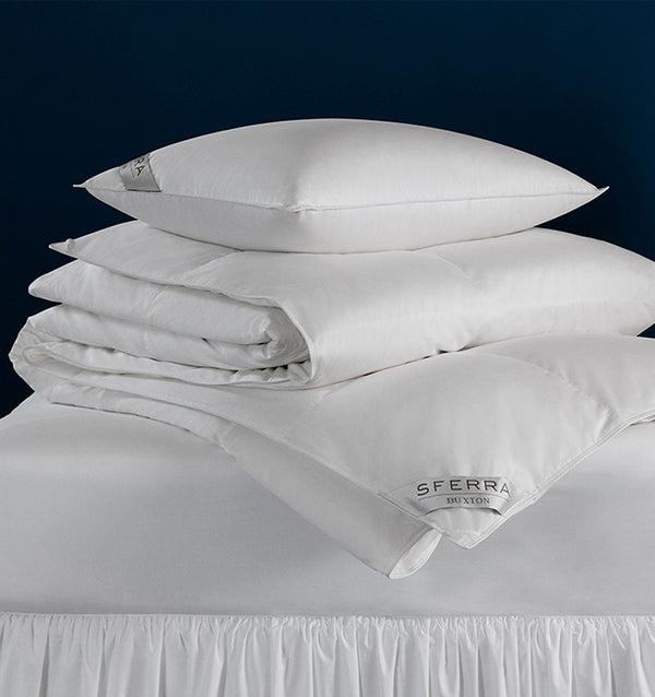 SFERRA Buxton duvet and pillow collection of 600+ European goose down.