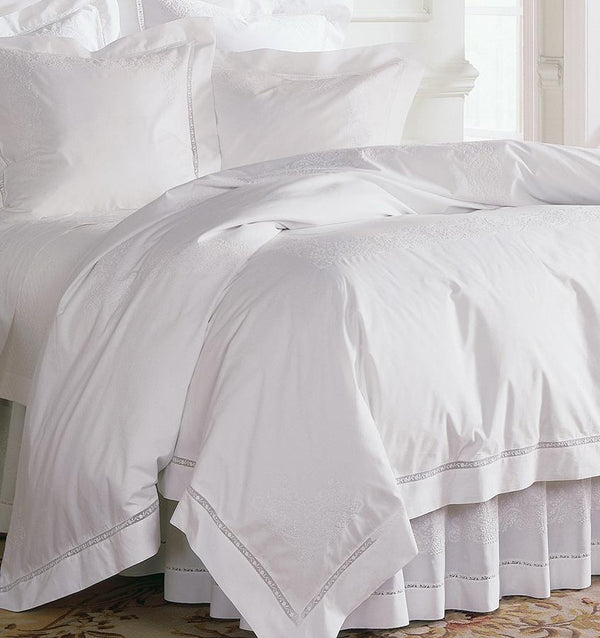 Francesca Duvet Cover features beautiful hand-embroidered scrollwork pattern and lace inset.