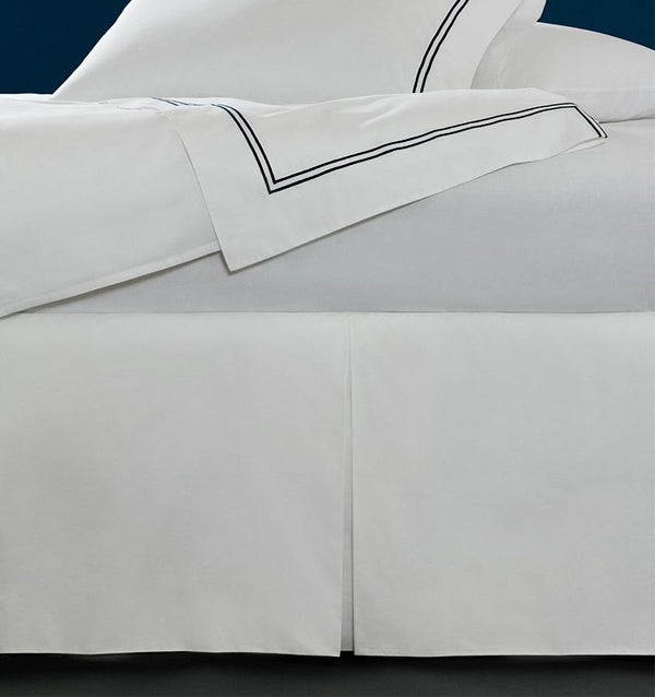 A luxury tailored SFERRA Grande Hotel bed skirt in Italian cotton percale.