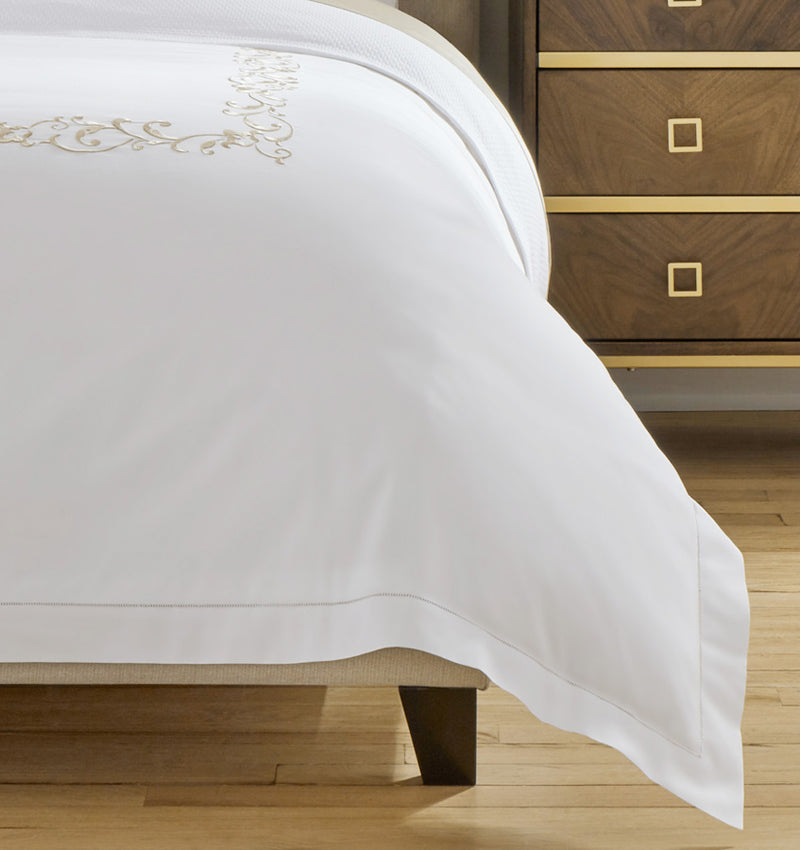 The SFERRA Griante Duvet Cover features elevated ornamental detailing on long staple cotton percale.