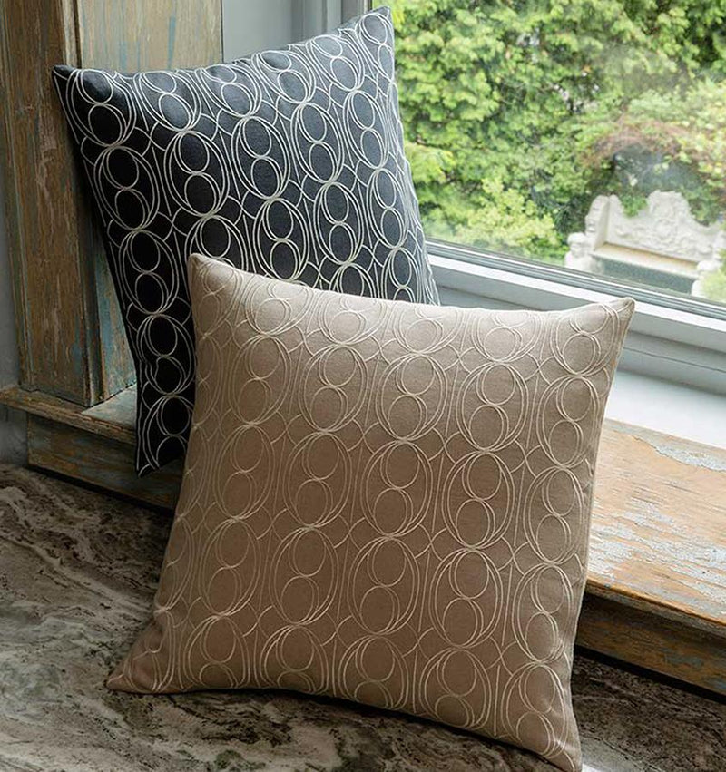 SFERRA's Linna European-woven linen pillow is laced in pretty repeat amidst graphic lines and crescent-shaped curves.