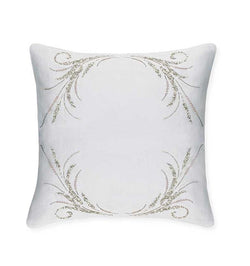 SFERRA's Lonna Decorative Pillow features Eastern-inspired artisan beadwork, attracting the light like fine pearls.