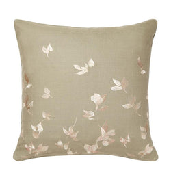 SFERRA Miada Decorative Pillow resembles hand-painted petals, giving the design a sense of delicacy, while the Olive linen base and solid back lend it an earthy feel.