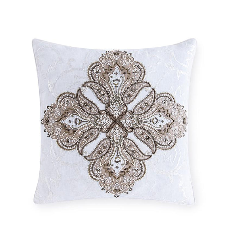 SFERRA Toffia Decorative Throw Pillow features hand-embroidered beading and cotton organza overlay.