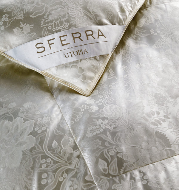 SFERRA's Utopia Down collection is culled from the Eider duck in Iceland and is renowned throughout the world as the most efficient insulation against the cold.
