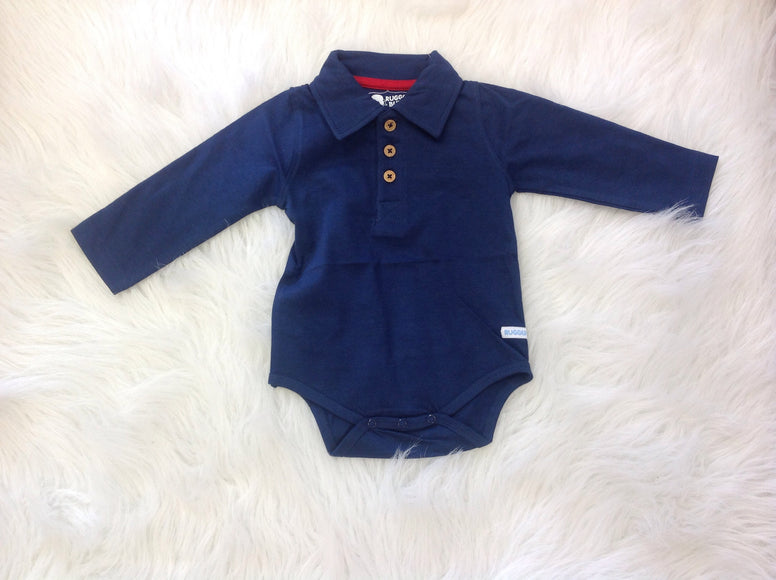 Navy Long Sleeve Polo Bodysuit