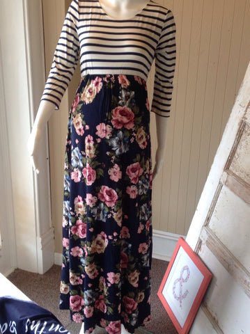 Navy Stripe and Floral Maxi Dress
