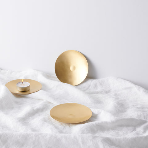 Brass candle plate