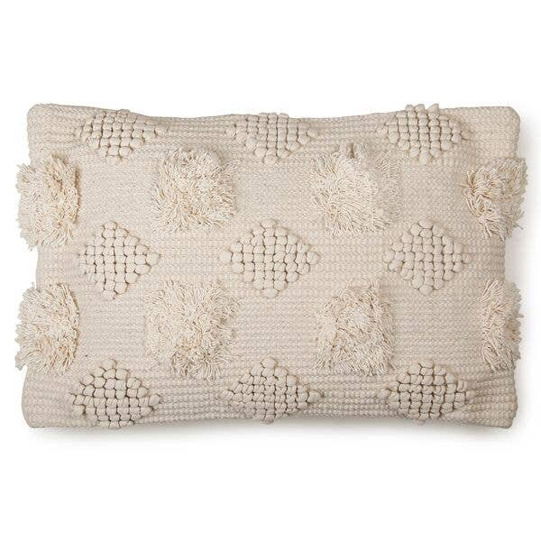 Cream Cotton Tufted Pillow