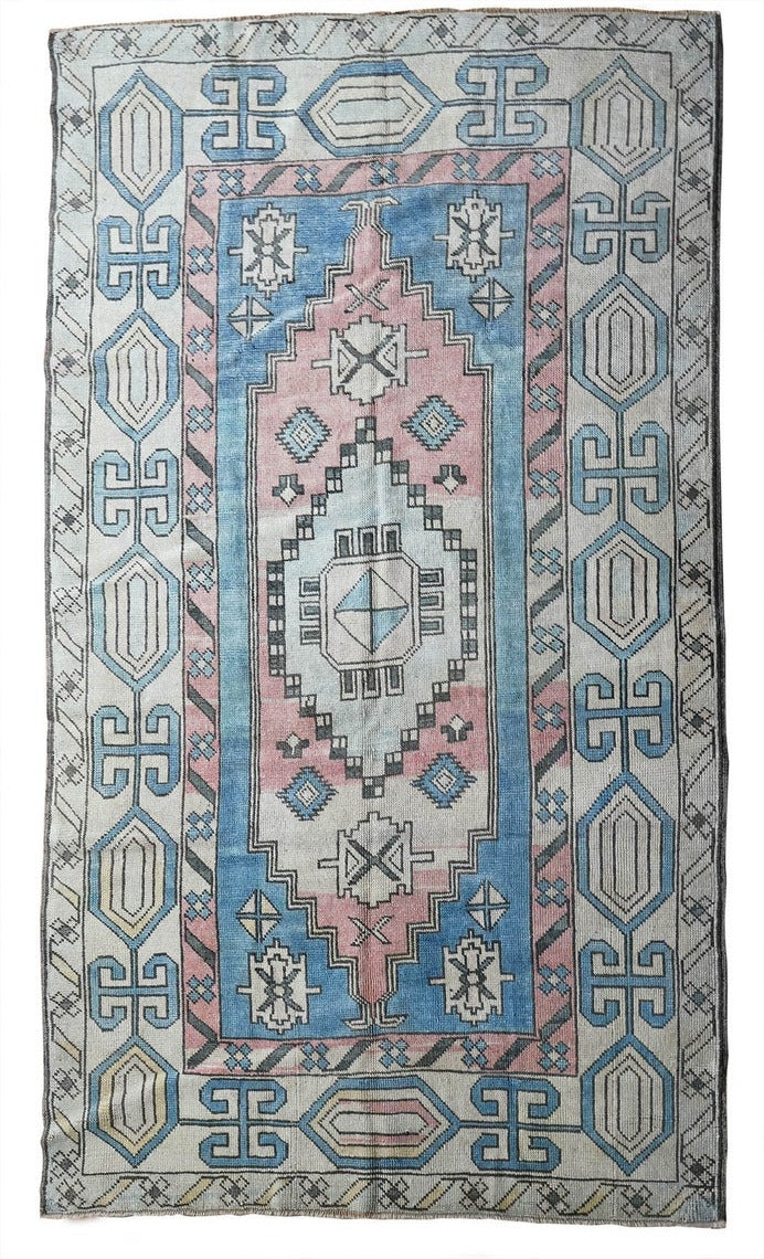 "Arista Pink and Blue, Faded Vintage Oushak Rug 4'.5"" x 7'.8"""