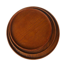 Load image into Gallery viewer, Wooden Round Kitchen Serving Tray Natural 3 Sizes