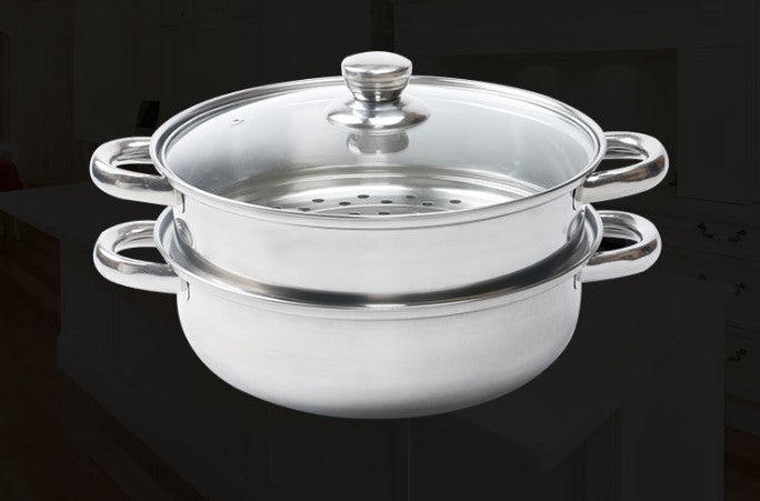 1PC Stainless Steel Two Layer Stockpot/Steamer