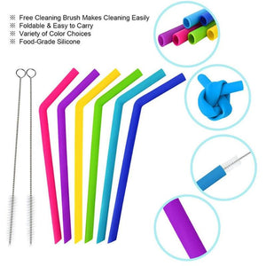 6Pcs set Reusable  Drinking Straws with 2pcs Cleaning Brushes