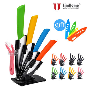 6pc Ceramic knife set with stand