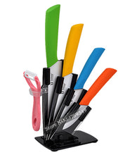 Load image into Gallery viewer, 6pc Ceramic knife set with stand